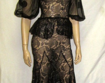 Sensual 1930's Black Lace Evening Gown
