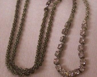 Vintage Silver Tone Rhinestones and black Necklace.