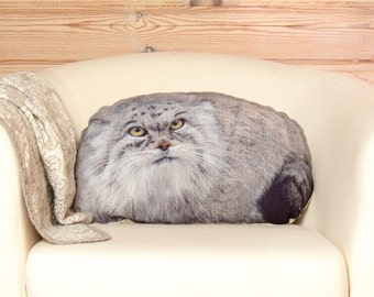 Manul Pillow, pallas cat, woodland animal pillow, stuffed animal