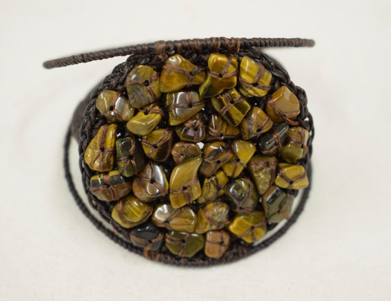 Bracelet Tiger Eye Chip Cuff Woven Chips Handmade Bracelet  Cuff Jewelry Brown Tiger Eye Chip Woven Disc Vintage Unique