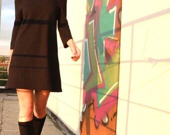 A-Shaped Off Shoulders Heavier Weight Black Cotton Jersey Minimalist Dress/Tunic