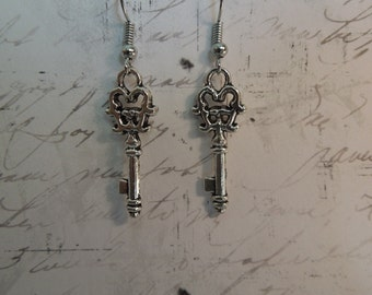 Silver Key Earrings - Skeleton Key Earrings - Key Jewelry - Alice in Wonderland - Sterling Silver - Hypo Allergenic