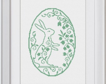 Easter Floral Bunny Stitch Pattern, Easter Cross Stitch Pattern, modern cross stitch, Cross Stitch Pattern, funny cross stitch