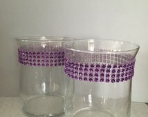 Candleholder, purple candleholder, bling candleholder, rhinestone candleholder, table decor, glass candleholder, set of 2