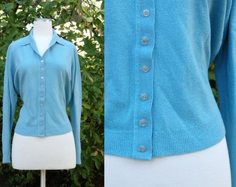 1950s 1960s Dusty Blue Cardigan Sweater // 50s 60s Soft Thin Knit Blue Button up Sweater