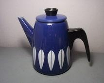 Vintage Blue Cathrineholm Lotus Coffee Pot/Cathrine Holm Lotus Enamelware/1960s Coffee Pot/Norwegian Coffee/Mid Century Modern/Blue Lotus