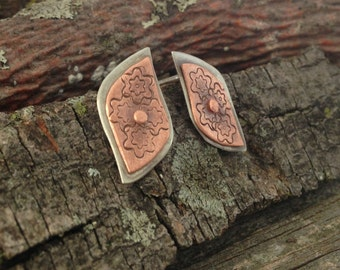 Silver earrings, hand forged copper flower, riveted layers, post earrings