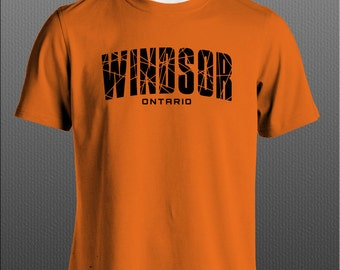 Windsor Ontario T-shirt Black on Orange  Free Shipping