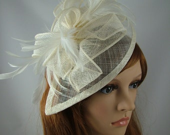 Ivory Cream Teardrop Sinamay Fascinator with Feathers
