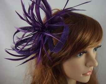 Purple Feather Spray Sinamay Comb Fascinator - Occasion Wedding Races