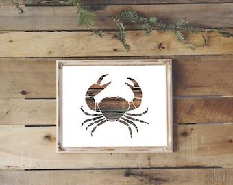 Crab Print, Wooden Crab, Nautical Nursery Theme, Beach House Decor, Crab Art, Wood Wall Art, Instant Printable, December Gift, Wood Decor