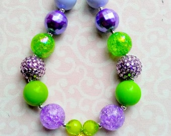 Tinkerbell Necklace, Chunky Bubblegum Bead Necklace with Rhinestone Pendant, 20mm Beads, Green and Purple, Petter Pan, Disney, Fairy