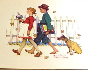 Norman Rockwell Art Reproduction From 1970 A Scholarly Pace Young Love Series Young Love Perfect child room or living room Hanging for Home