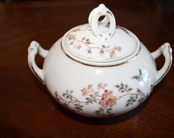 Beautiful lidded china sugar dish, cherry blossoms and birds