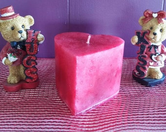 Heart Shaped rose-scented Valentine's Day pillar candle