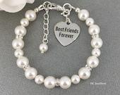 Best Friend Charm Bracelet, Swarovski Bracelet, Gift for Best Friend, Pearl Bracelet, Best Friend Forever Bracelet, Swarovski Jewelry