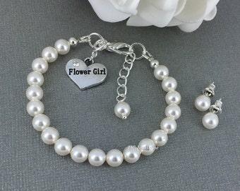 Flower Girl Bracelet and Earrings Set Swarovski Pearl Jewelry Set Flower Girl Jewelry Stud Earrings Flower Girl Gift Gift for Niece Wedding
