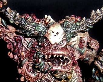 The Face of War- Unique Outsider Art Piece made with Real Diamonds - Great Unclean One - Greater Daemon of Nurgle - Warhammer 40k -