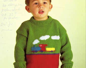 baby todddler childrens sweater knitting pattern train motif jumper crew neck 22-26 inch DK baby knitting patterns pdf instant download