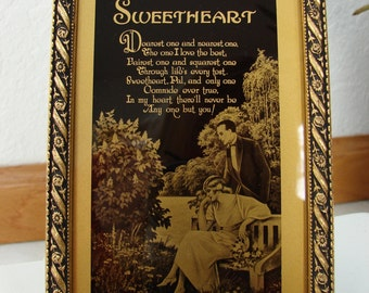 Framed Sweetheart Poem with Black and Gold Artwork/C&A Richards Tallimit Art