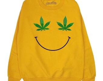 Weed Leaf Smiley Face Sweatshirt ∘ 70s ∘ Retro ∘ 90s ∘ Pot Marijauna Cannabis Sweater ∘ Jumper