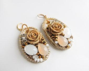 Beige Earrings Gold Leather Earring Vegan Earrings Suede Earrings Vegan Leather Jewelry Lightweight Earrings Resin Rose Earrings SALE Bijoux
