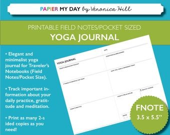 Printable Yoga Journal - Gratitude and Yoga Journal Printable for Field Notes and Pocket Sized travelers notebooks