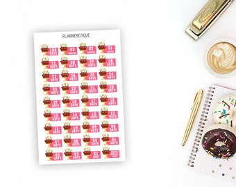 Birthday Countdown Stickers - Erin Condren Planner Stickers - CD 0004
