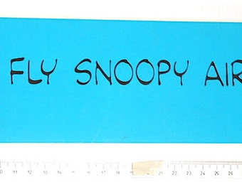 SNOOPY 80s Peanuts by Schulz - Hallmark Us - vintage long large sticker blue mint - Fly Snoopy Airlines!