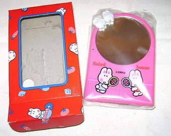 SALAD HOUSE 80s Lady mate Japan - Super Kawaii tiny mirror for table with rabbit pink mint