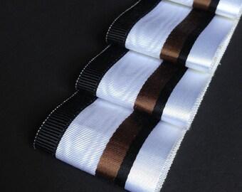 Vintage French Satin-faced Moiré Millinery Grosgrain Ribbon - White/Chocolate/Black