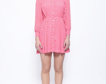 Vintage Fuchsia Pink And White Polka Dot Dress