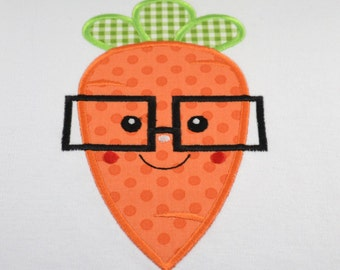 Easter Carrot Glasses Shirt boy girl kid child baby toddler infant embroidery applique custom monogram name personalized spring