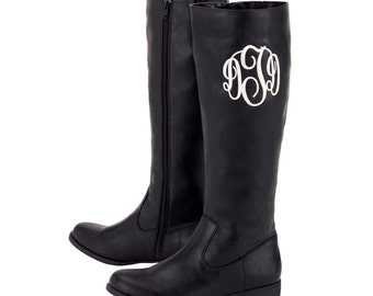 Monogrammed Boots, SALE LIMITED TIME - Black or Brown, Customized Initials, Your Choice of Thread Monogram
