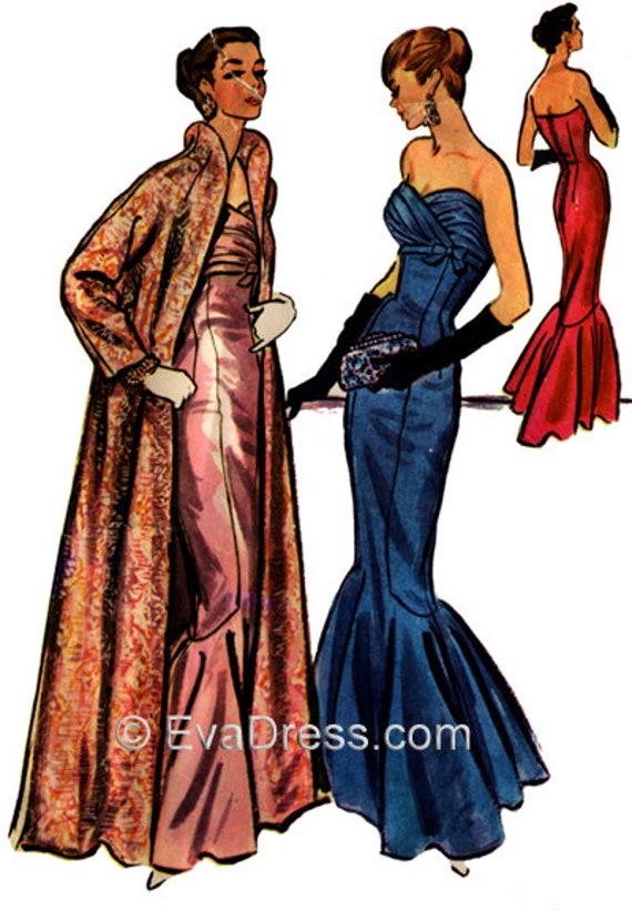 1950s Sewing Patterns | Swing and Wiggle Dresses, Skirts 1956 Mermaid Evening Gown & Kimono Coat EvaDress Pattern  AT vintagedancer.com