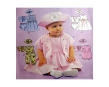Baby Girl Dress, Rompers, Jacket, Hat and Panties Pattern Infant Size Small, Medium, Large, XL Weight 13 - 24 lbs. Uncut McCall's 2086
