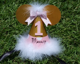 Pink and gold Minnie Mouse birthday hat with name