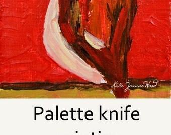Red Mini Brown Sparrow Bird Painting. Acrylic Animal Portrait. Bird Lover's Decor. 111