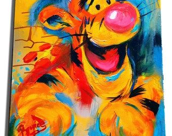 Tigger, Pop Art, 18x24 Acrylic Painting,tig, winnie the pooh, Original, Gift for Nursery, Kids Room, Art, Winnie the Pooh, Brenner, children