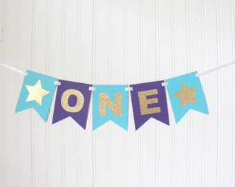 Gold, Aqua & Purple ONE High Chair Banner Star Happy Birthday Banner/ Girl Birthday/Under the sea Party/ Party Decorations/1st birthday