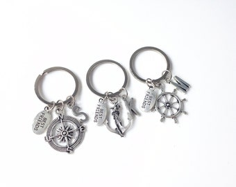 3 best friends, 3 best friend gift, 3 best friend keychain, best friends 3, nautical keychain, nautical key chain