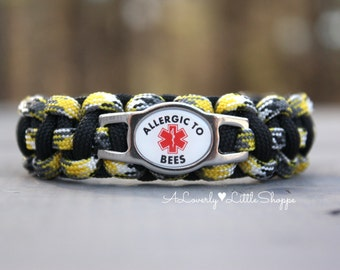 Medical Alert Paracord Bracelet with Stainless Steel Charm - Bee Allergy - Allergic to Bees - Survival Bracelet - Handmade - Custom