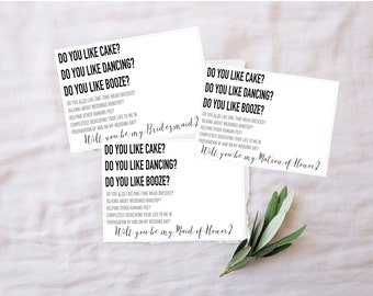 Funny Bridesmaid Card, Funny Bridesmaid Proposal Set, Matron of Honor, Maid of Honor, Will you be, Digital Download, Printable, Top Seller