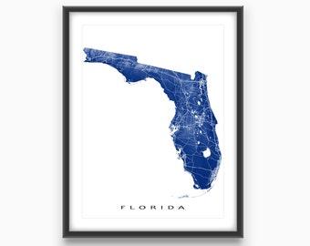 Florida Map, Florida State Art Print, USA State Outline Maps