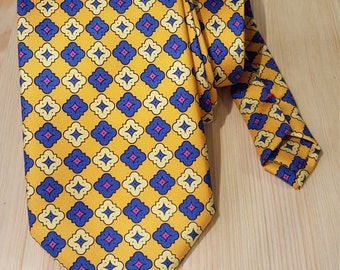 Handmade silk tie. Yellow and blue patterned tie