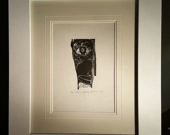 ORIGINAL FACE LINOCUT - linoleum blockprint - handprinted