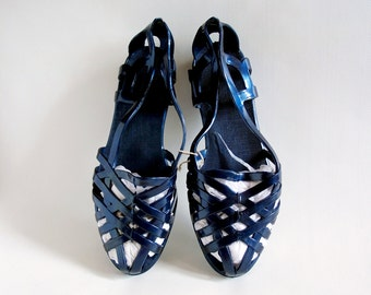 Midnight blue jelly ballets Size US 6-6.5, EU 37, Vintage girl's rubber flats, Jelly sandals, Swimming pool shoes, Summer shoes, USSR 90s
