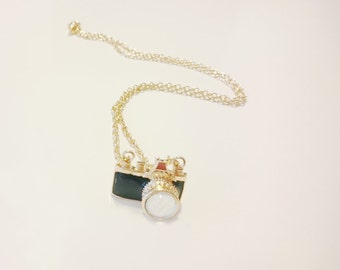 Camera pendant black necklace with gold chain