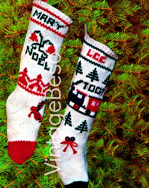 Vintage Christmas Stocking Knitting Pattern : Stocking KNITTING CHRISTMAS PATTERN Vintage 1960s by VintageBeso