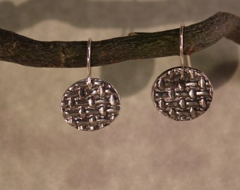 fine silver,metel clay earrings, textured, sterling silver ear wires